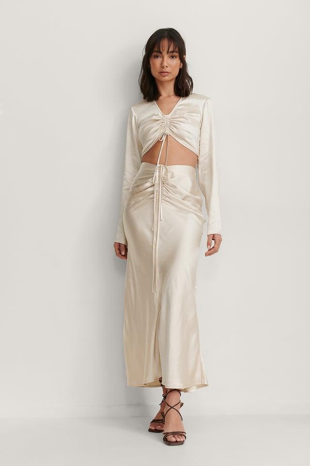 Drawstring Satin Skirt