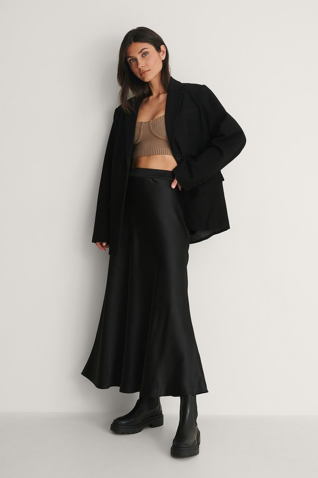Midi Flowy Satin Skirt Outfit