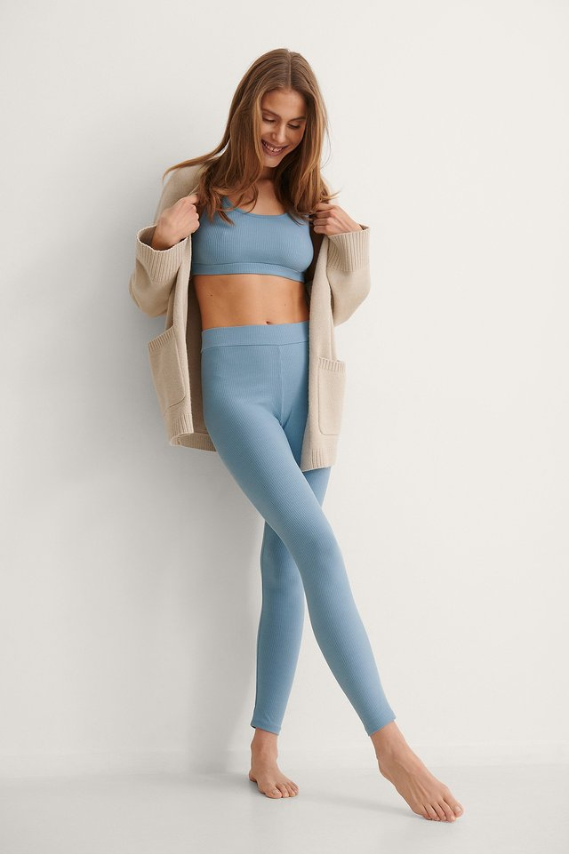 NA-KD Recycled Ribbed High Waist Tights Outfit