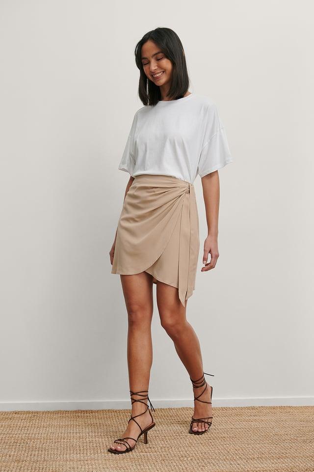 Overlap Side Knot Mini Skirt