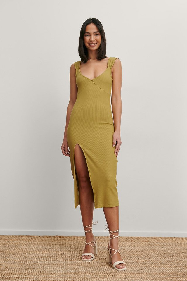 V-shaped Front Midi Dress