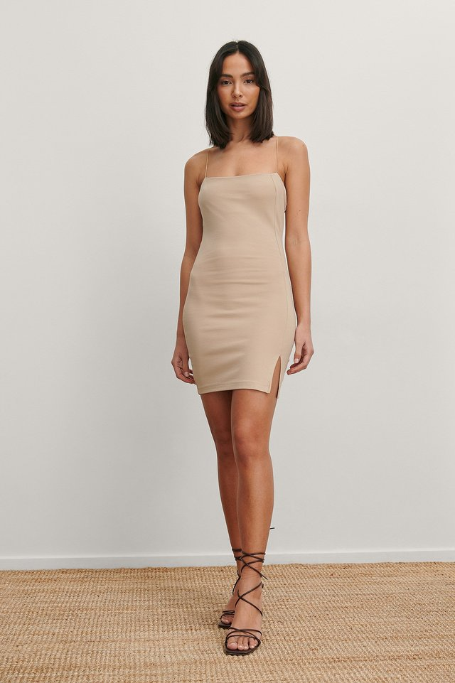 Beige Spaghetti Straps Mini Dress