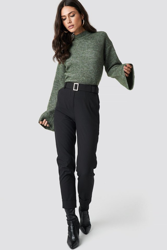 Cozy Knit and High Waist Trousers