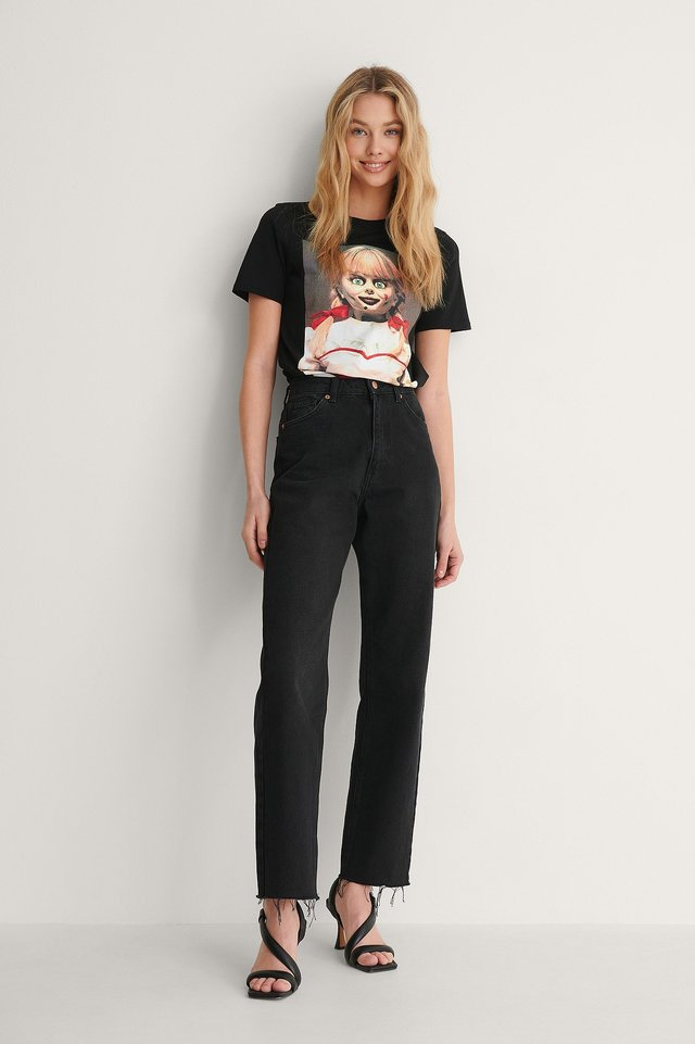 NA-KD Basic Printed Roundneck T-Shirt Outfit