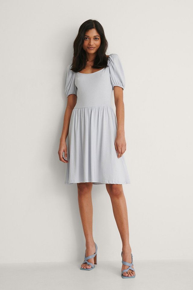 Light Blue Balloon Sleeve Jersey Dress