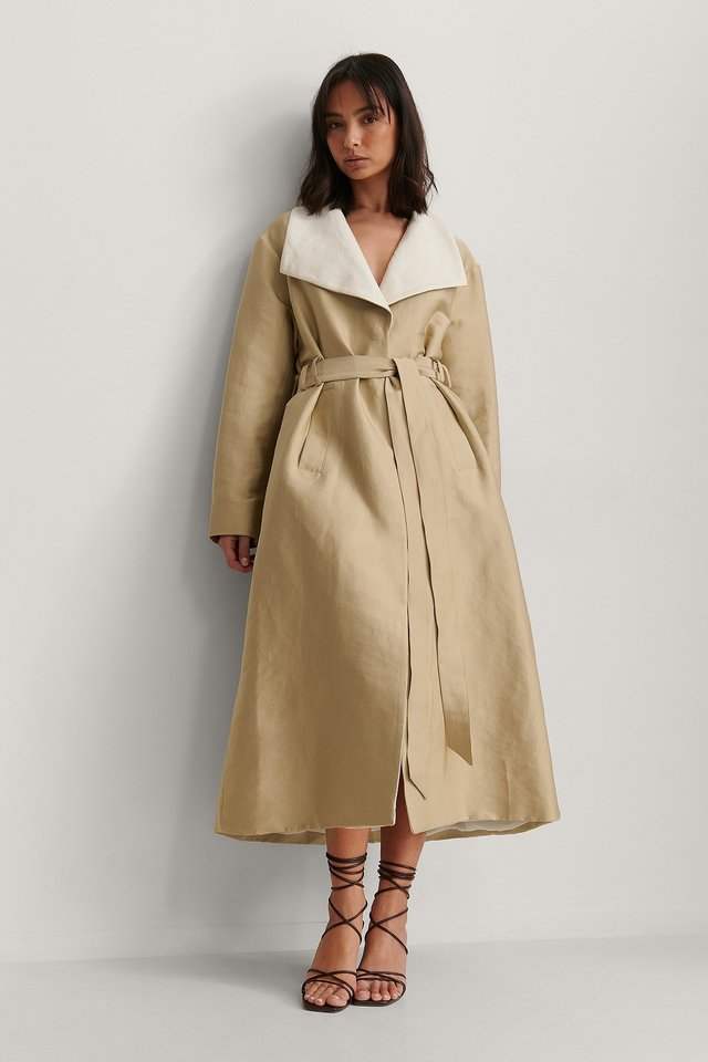 Contrast Color Trench Coat