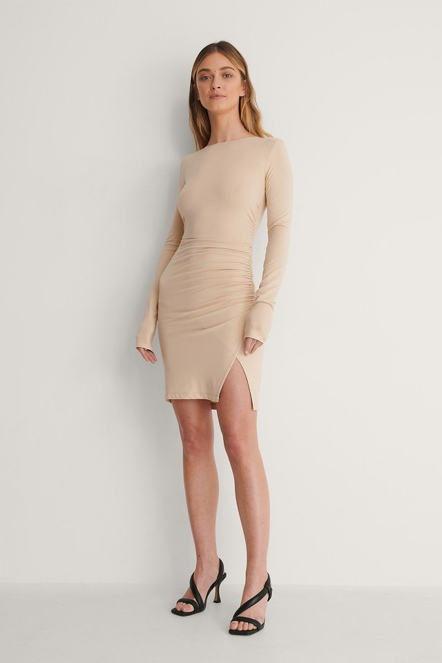 Beige Open Back Draped Dress