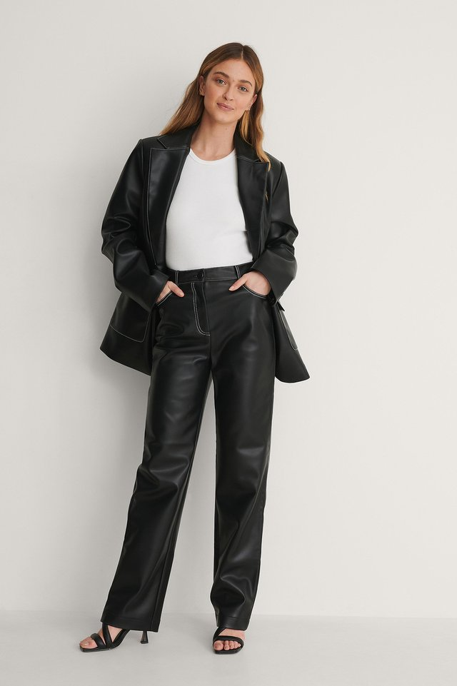 Black Oversized Contrast PU Blazer