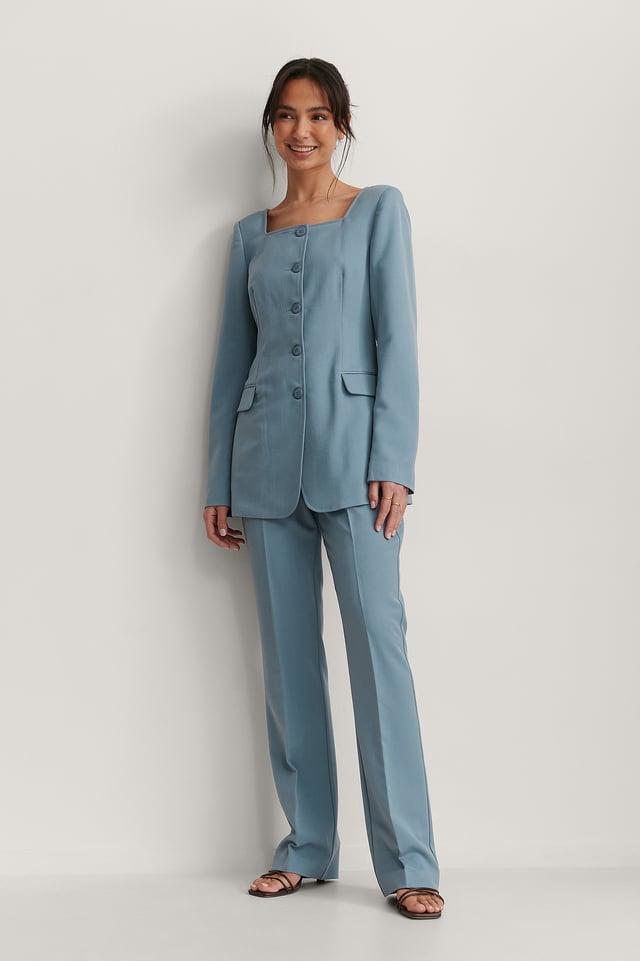 Square Neck Blazer Outfit