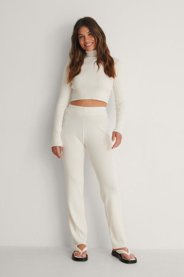 Knitted Ribbed High Waist Pants And High Neck Top Outfit