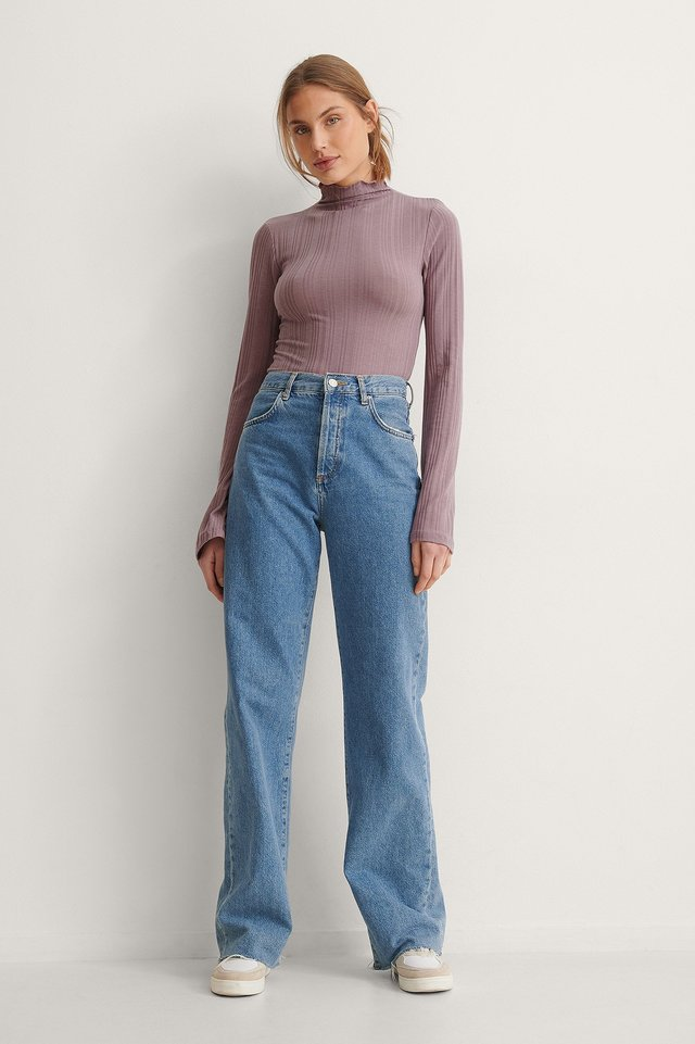 High Neck Ribbed Trumpet Sleeve Top