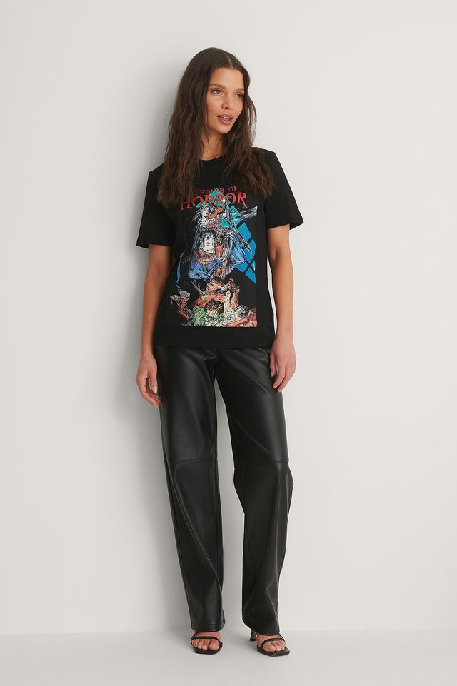 Warner Horror Basic Printed Roundneck T-shirt Outfit
