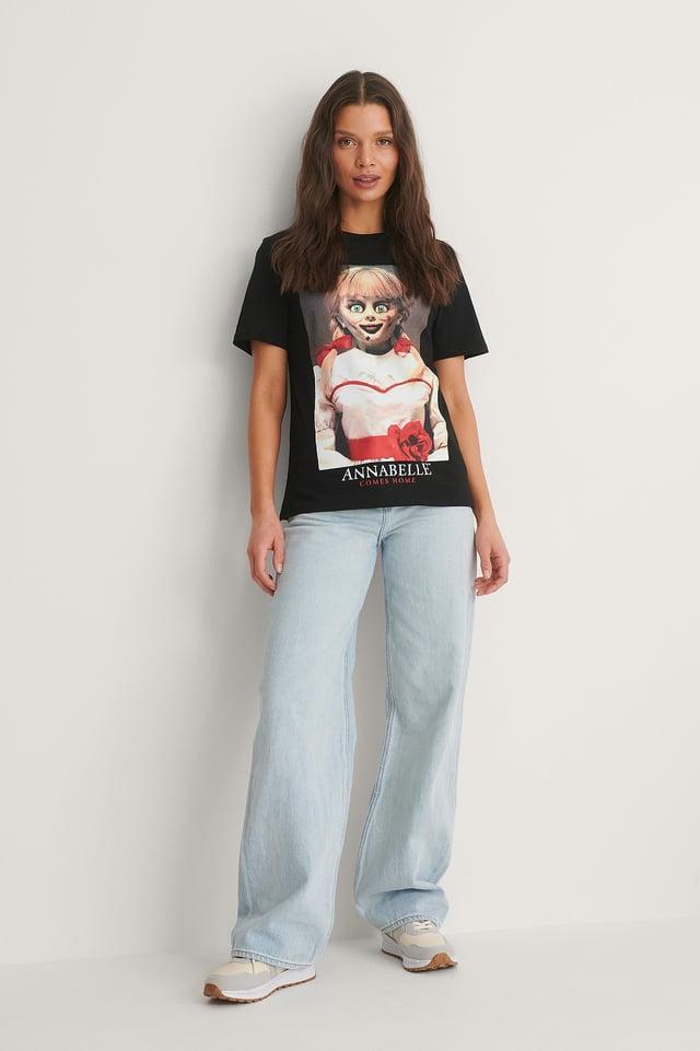 Black Print Annabell Basic T-Shirt