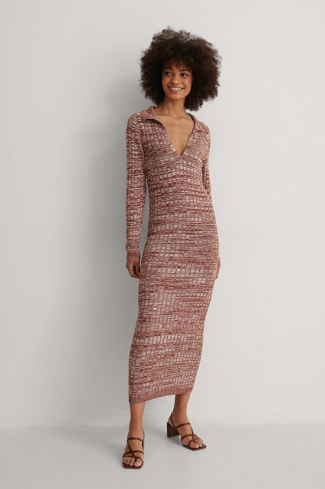 Melange Knitted Midi Dress Outfit