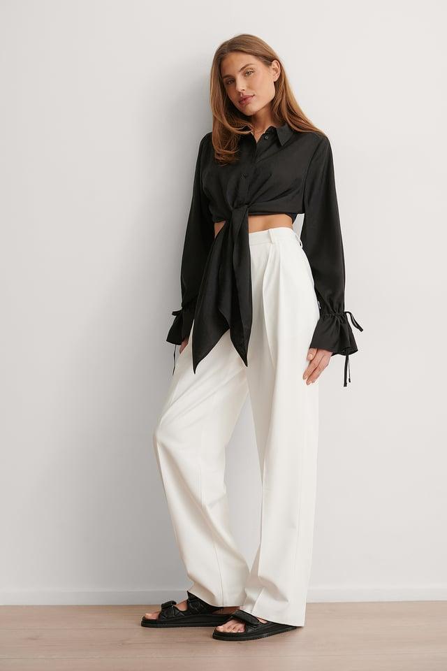 Black Drapierte Bluse Mit Knoten Vorne