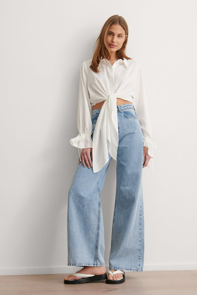Draped Front Knot Blouse