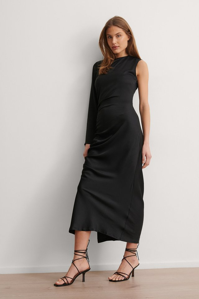 Draped One Sleeve Midi Dress