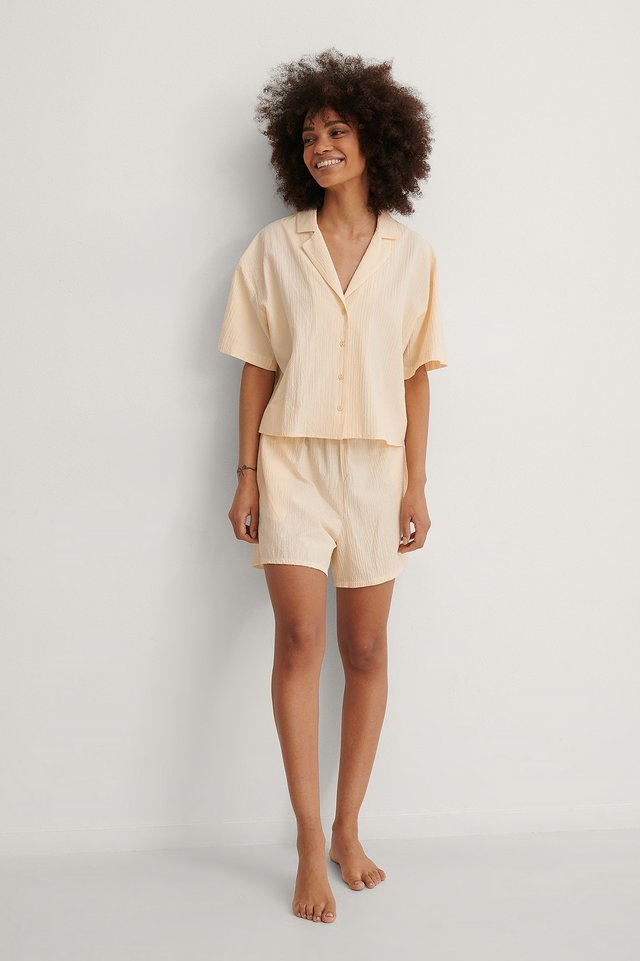 Structured Wide Organic Lounge Shorts Outfit.