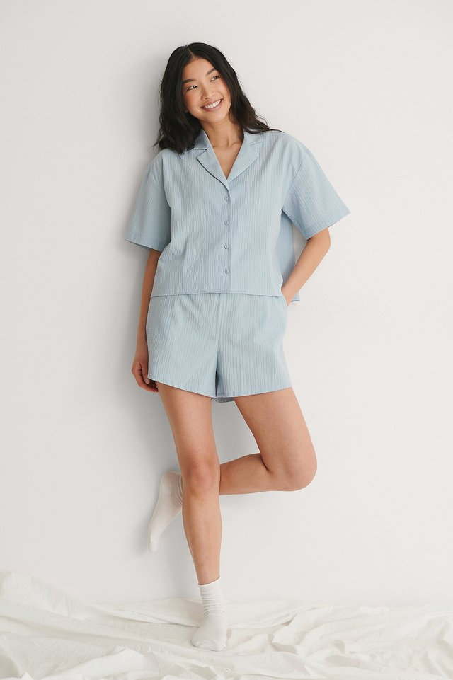 Structured Short Sleeve Organic Lounge Shirt Outfit.