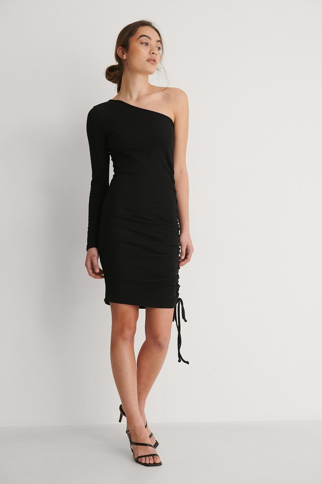 One Sleeve Drawstring Dress Outfit