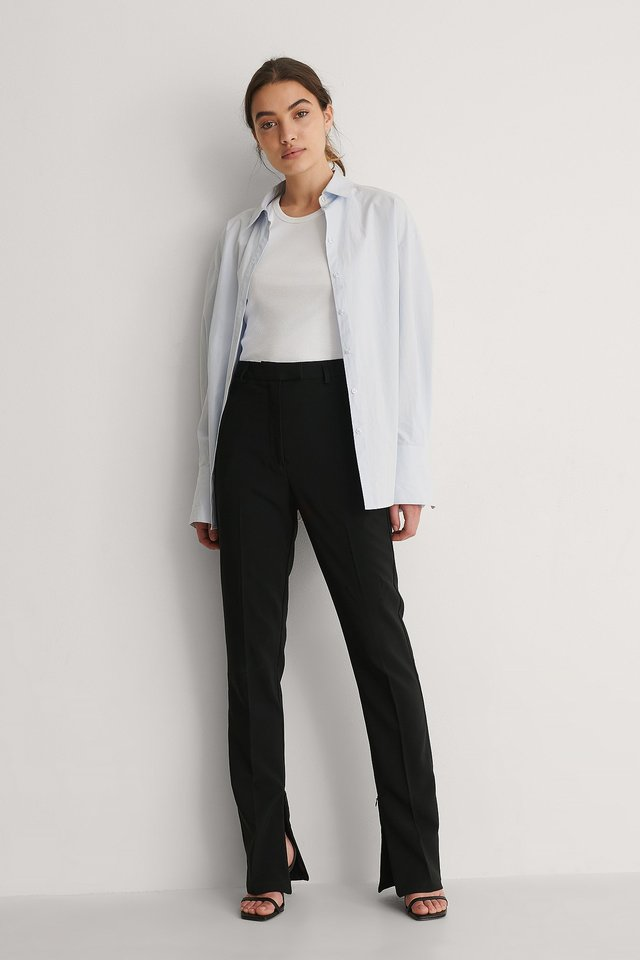 NA-KD Side Slit Zip Pants Outfit