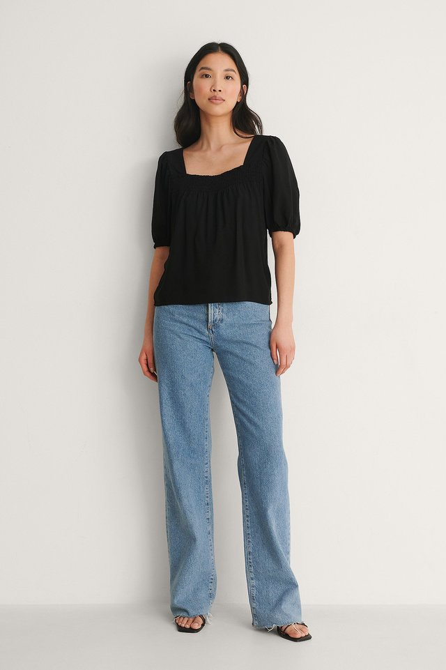 NA-KD Open Back Square Top Outfit