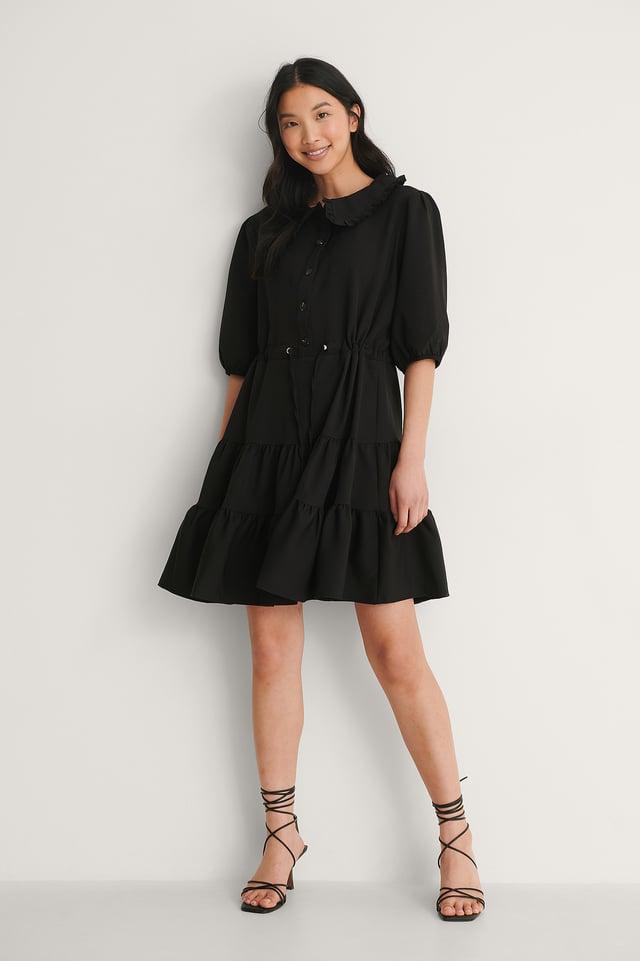 Trendyol Collar Detail Mini Dress Outfit