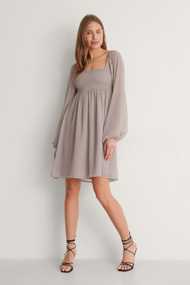 Square Neck Dobby Mini Dress