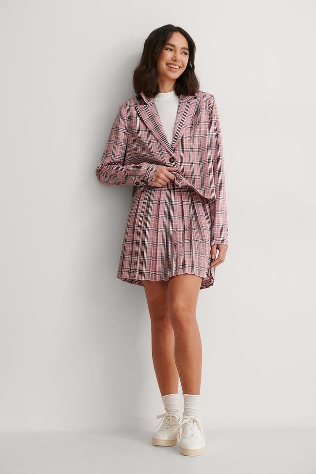 Pleat Mini Checked Skirt