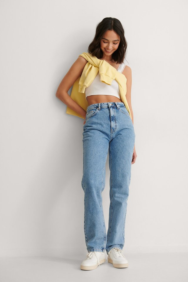 High Waisted Regular Fit Denim