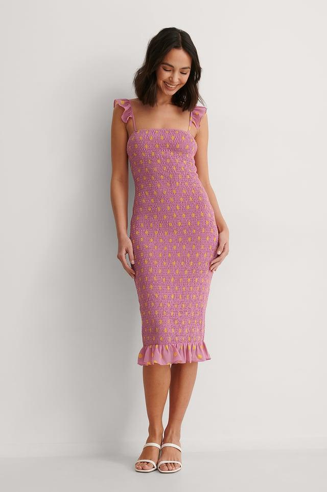 Smocked Dotted Midi Dress