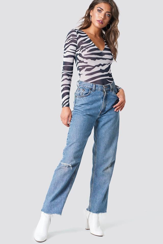 Denim Jeans with Animal Mesh Body