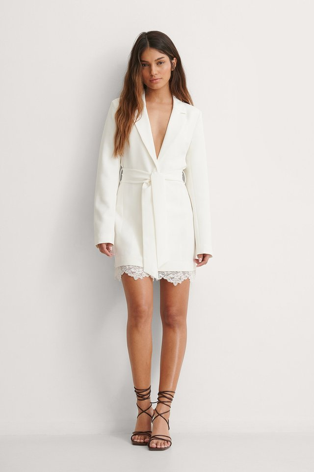 NA-KD Lace Detail Blazer Dress Outfit