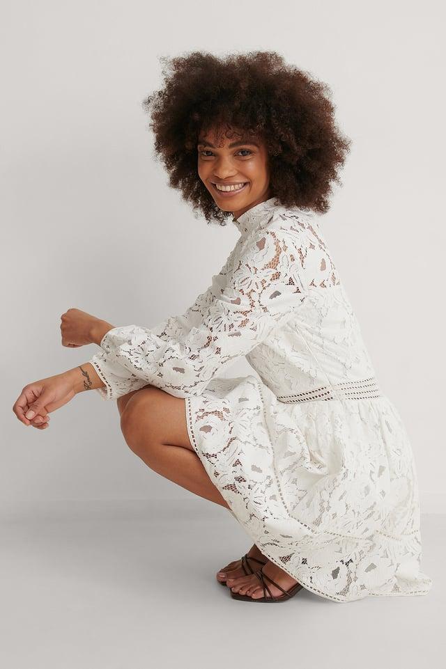 NA-KD Long Sleeve Lace Midi Dress Outfit