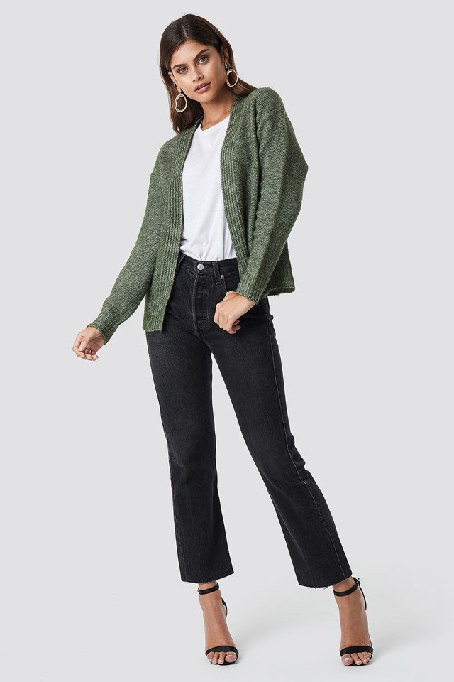Green Cropped Cardigan Outfit