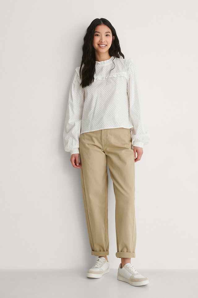 High Neck Is Dobby Blouse