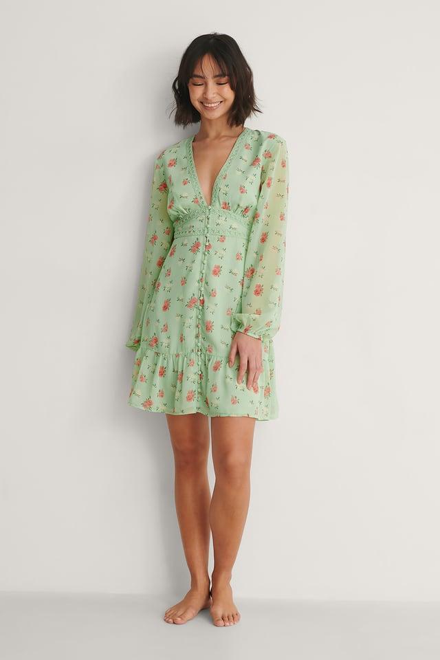 Button Detail Chiffon Dress Outfit.