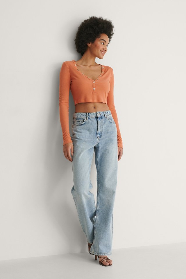 Ribbed Button Detail Top Outfit