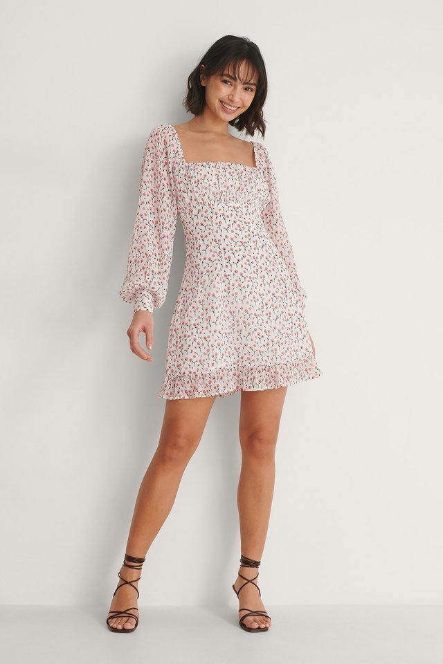 Ruched Long Sleeve Dress Outfit.
