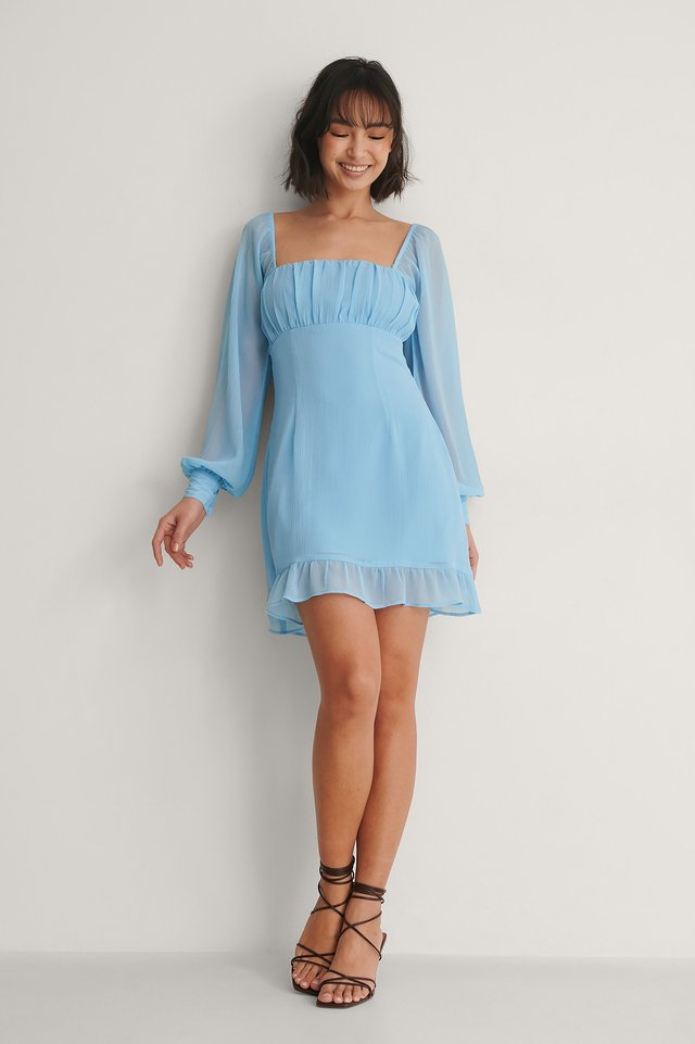 Ruched Long Sleeve Dress Outfit