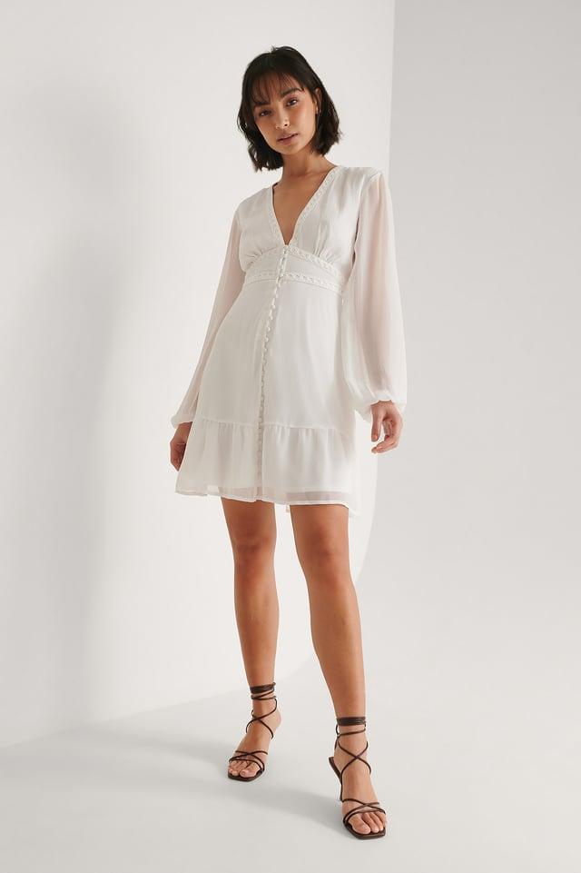 Button Detail Chiffon Dress Outfit