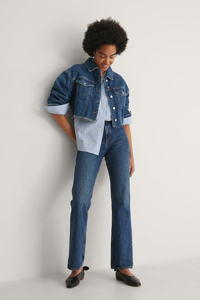 Cropped Raw Hem Denim Jacket Outfit