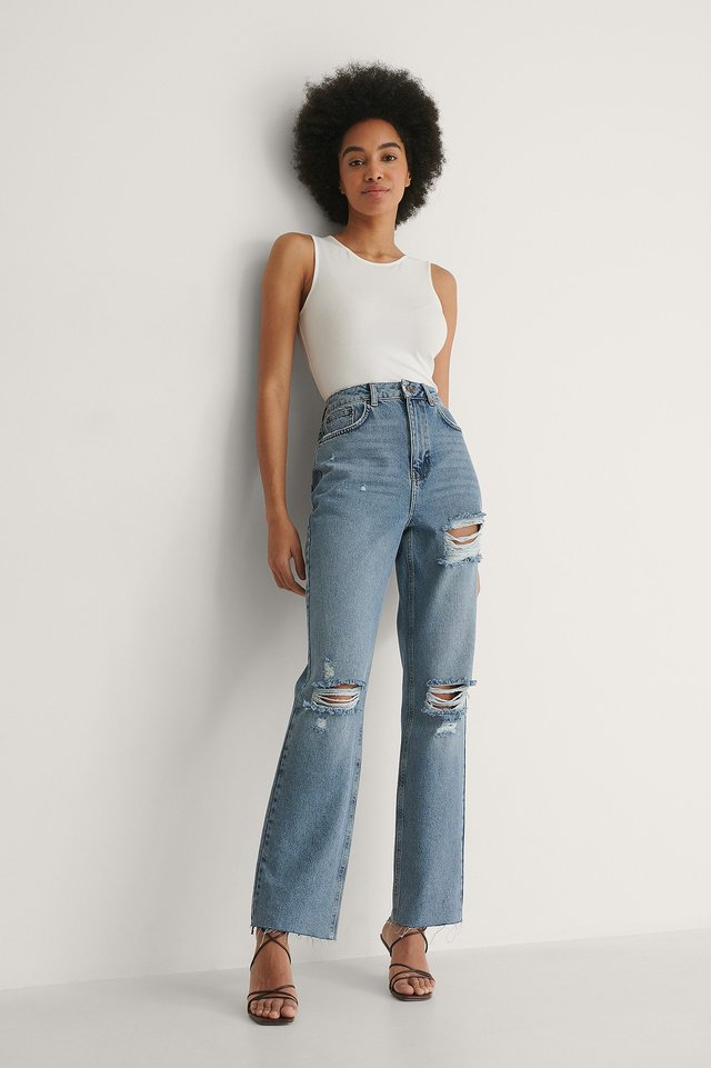 Destroyed Detail High Waist Straight Jeans Tall Outfit