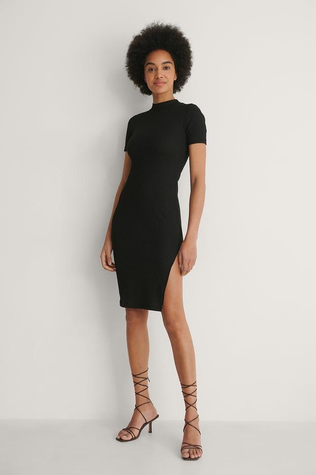 NA-KD Ribbed Slit Detail Dress Outfit