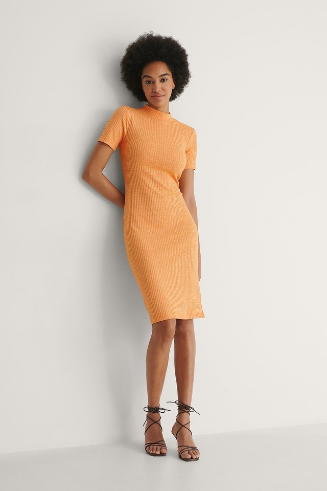 Ribbed Slit Detail Dress Outfit