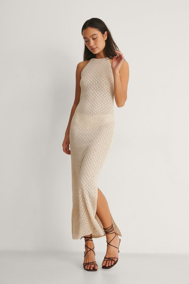 Pattern Knitted Midi Dres Outfit.