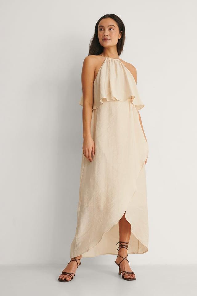 Halterneck Overlap Skirt Dress Outfit