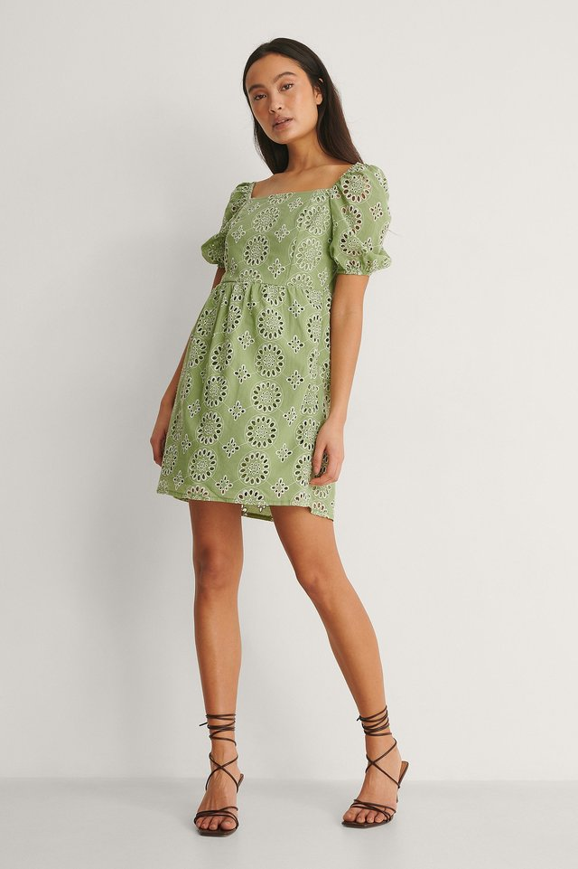 Square Neck Embroidered Dress Outfit