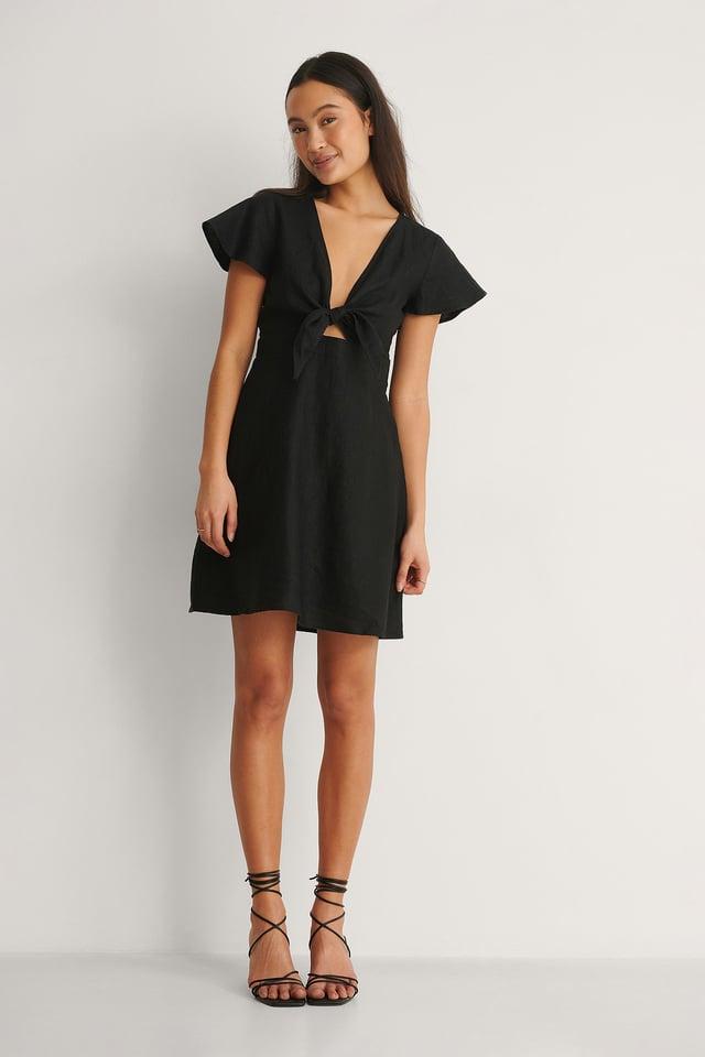 Tie Front Linen Dress Outfit.