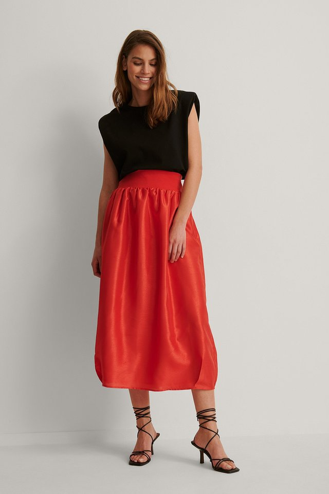 Cocoon Shape Maxi Skirt Outfit